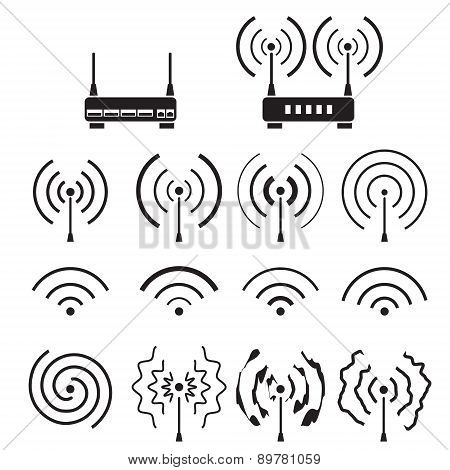 Collection of wifi and wireless signal wave and some vector router