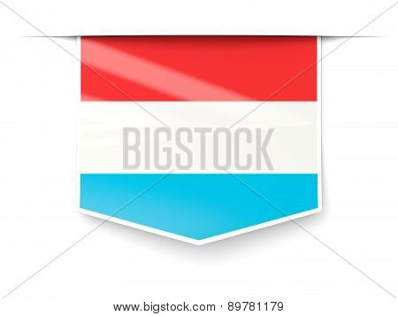 Square Label With Flag Of Luxembourg