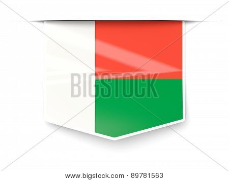 Square Label With Flag Of Madagascar