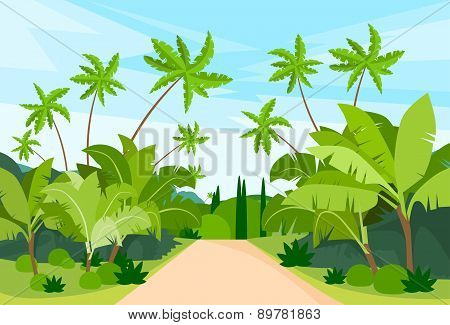 Jungle Forest Green Landscape with Road Path