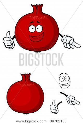 Happy red pomegranate fruit giving a thumbs up