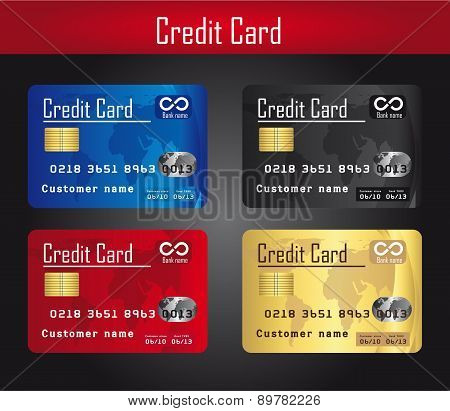 Four Colorful Credit Cards Over Gray Background Vector
