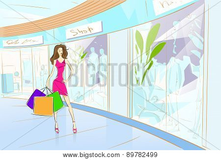 Woman Shopping Bags Modern Luxury Shop Mall