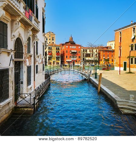 Venice Cityscape, Bridge, Tree And Buildings On Water Grand Canal . Italy.