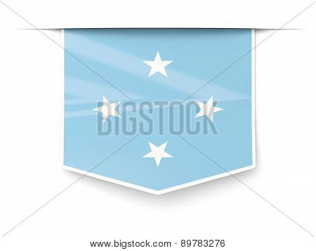 Square Label With Flag Of Micronesia