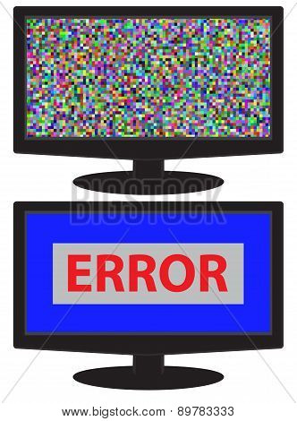 No signal,no data,crash screen on monitor display