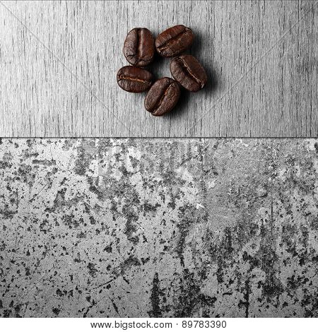 Roasted Coffee Beans On Wood Texture