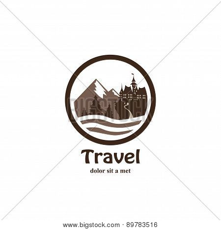 Travel agency logo in black white style
