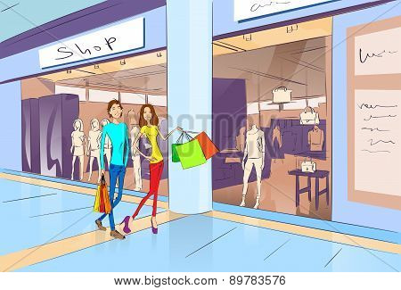 Couple Shopping Man and Woman Walking with Bags