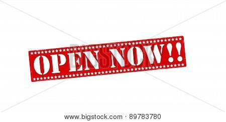 Rubber stamp with text open now inside vector illustration