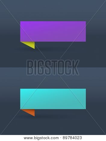 Vector set of simple bright banners in purple and blue colors