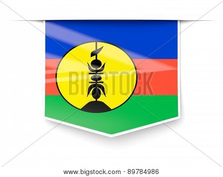 Square Label With Flag Of New Caledonia