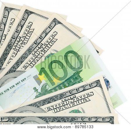 Dollar And Euro On White