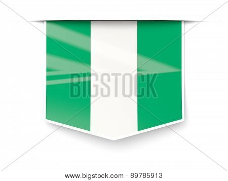 Square Label With Flag Of Nigeria