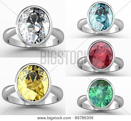 Beautiful jewelry rings set (high resolution 3D image)
