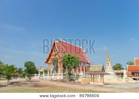 temple with the tree under sunligh