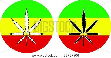 Rasta Flag With Marijuana Leaf Sign