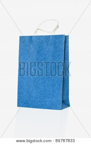 Mulberry Blue Paper Bag On Isolate White Background