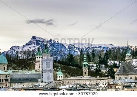 Top View On Salzburg City At Winter, Salzburg Austria