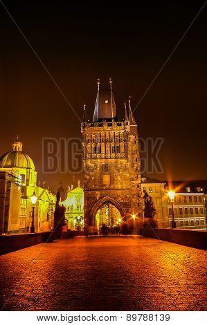 Night View On Charles Bridge In Prague, Czech Republic