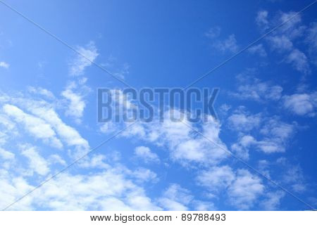 Beautiful Blue Sky Background Template With Some Space for Input Text Message Below Isolated on Blue