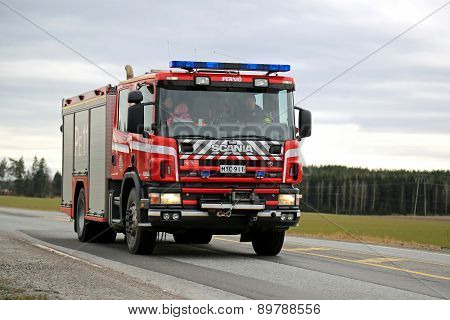 Scania Fire Truck On The Road