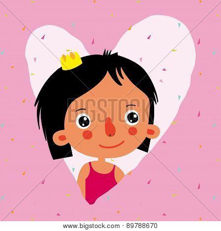 Girl Princess. Greeting Card. Illustration.