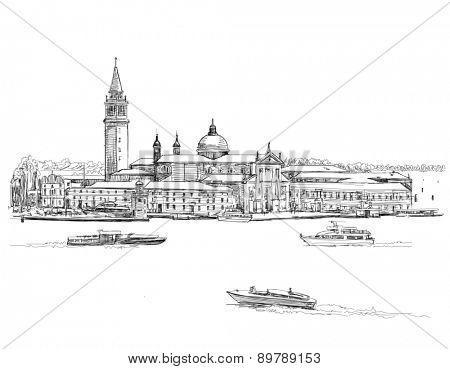Venice - Island of San Giorgio Maggiore. Black & white sketch