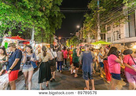 Sunday market walking street on May. 032015 in Chiang Mai Thailand.