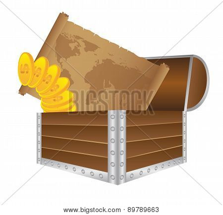 Wooden Trunk With Old Map And Gold Coins Vector Illustration