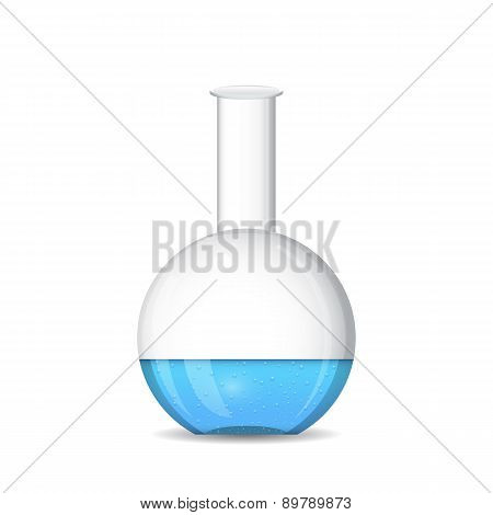 Flat Bottomed Chemical Flask On White Background