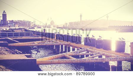 Vintage Toned Photo Of A Port Infrastructure