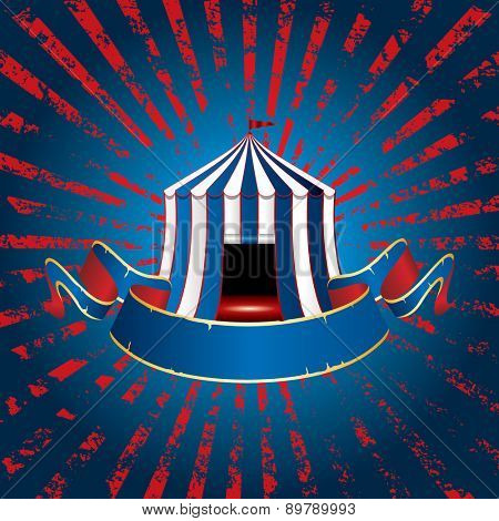 circus tent icon with blue blank banner on grunge burst background