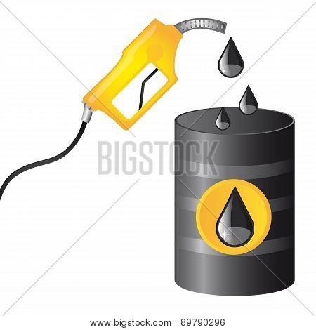 Oil Barrel With Fuel Pump Over White Background Vector