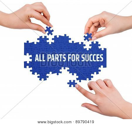Hands With Puzzle Making All Parts For Succes Word  Isolated On White
