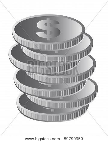 Silver Coins Isolated Over White Background Vector