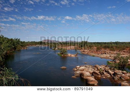 Rocky River Bed in the Outback towards the Pilbara