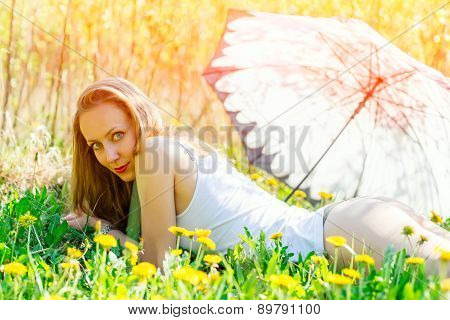 Sensual Woman In A Flowery Meadow