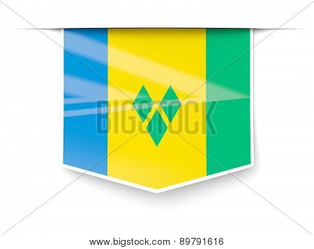 Square Label With Flag Of Saint Vincent And The Grenadines