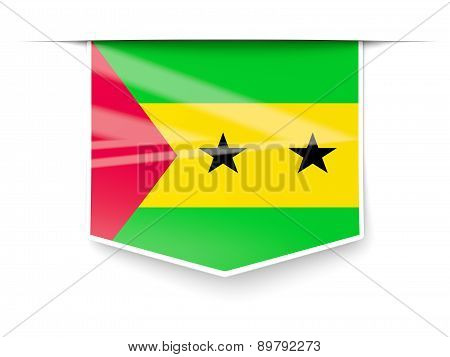 Square Label With Flag Of Sao Tome And Principe