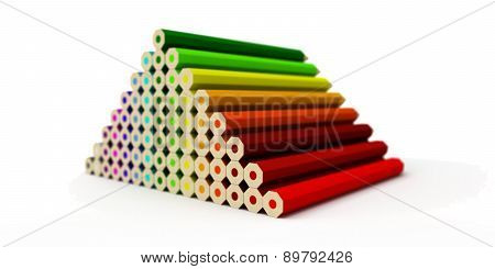 Pyramid Of Colored Pencils Isolated On A White Background