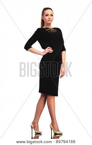 Side view of a young elegant business woman posing on isolated studio backgound with one hand on her waist.