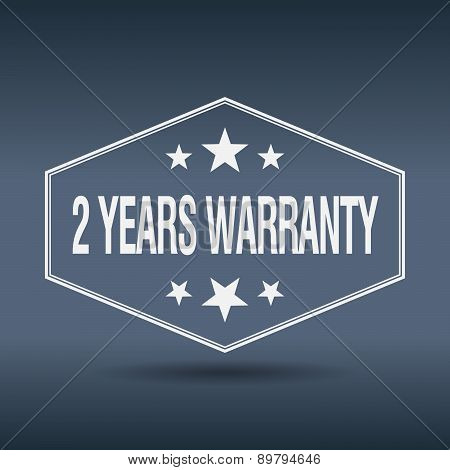 2 Years Warranty Hexagonal White Vintage Retro Style Label