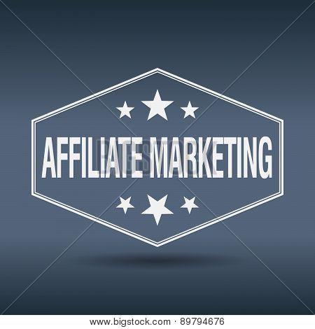 Affiliate Marketing Hexagonal White Vintage Retro Style Label