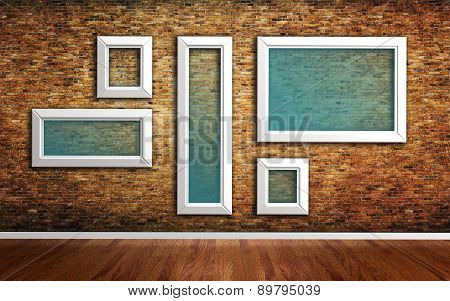 Picture Frames On Brick Wall And Wood Floor 3D Render