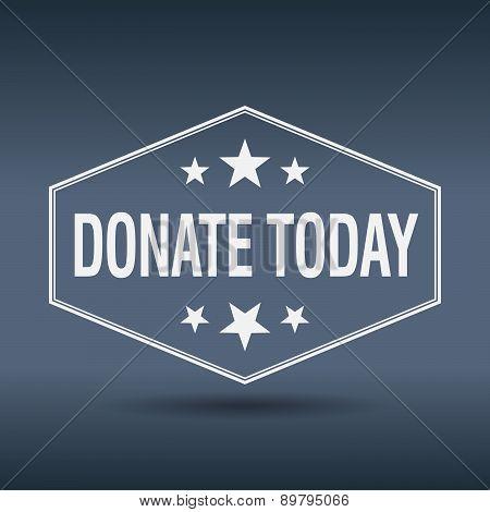 Donate Today Hexagonal White Vintage Retro Style Label
