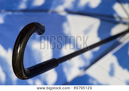 Black Umbrella Cane Handle Closeup