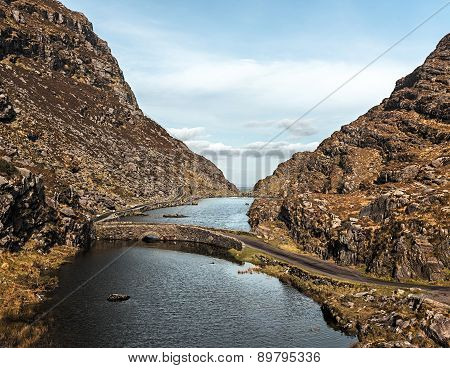 Irish landscape with lake and road