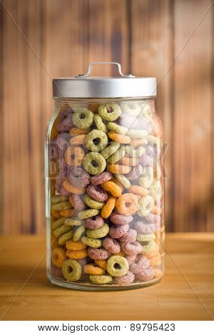 the colorful cereal rings in jar