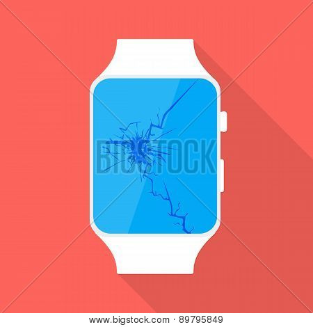 Broken Smart Watch Flat Stylized